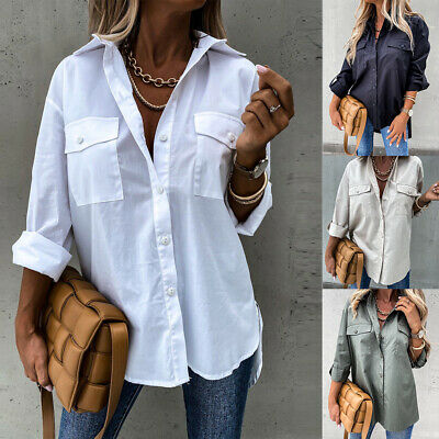 £11.69 • Buy Women Baggy Shirt Button Up Long Sleeve Ladies Casual Loose Plain Blouse Tops