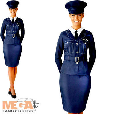 WRAF Girl Ladies Fancy Dress RAF Pilot Uniform WW2 1940s Womens Adults Costume • 22.99£