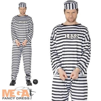 Convict Prisoner Mens Fancy Dress Robber Inmate Criminal Uniform Costume Outfit • 9.99£