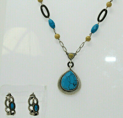 $ CDN45.41 • Buy Beautiful Silvertone LIA SOPHIA Turquoise OASIS Necklace & Earring Set B2