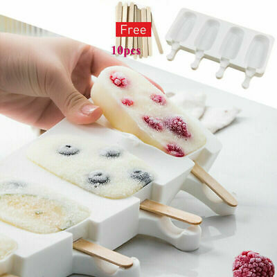 Silicone Block Pole Lolly Frozen Mould Tool Maker Mold Ice Cream Popsicle+Sticks • 7.69£