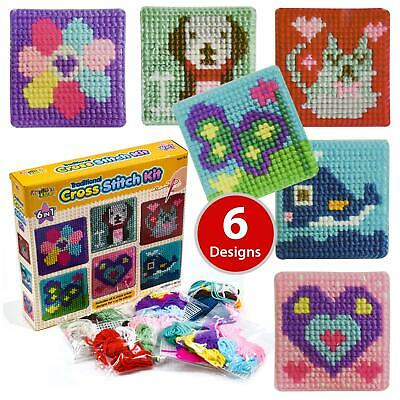 £8.99 • Buy Craft Set Cross Stitch Kit Kids 6 Traditional Children Kids Toy Tapestry Sewing