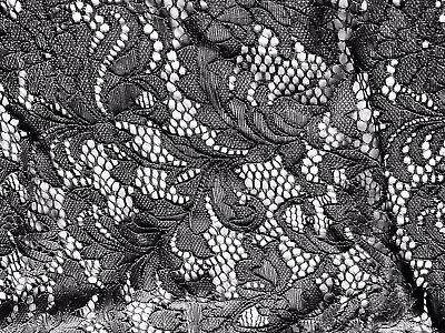 Black Crochet Lace Fabric, Scalloped Selvedge, Per Metre • 4.99£