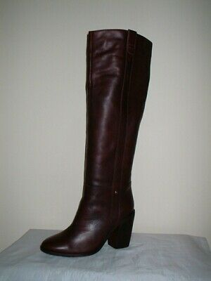 Next Forever Comfort Burgundy Leather  Pull On Heels  Knee High Boots 7/41 • 7.50£