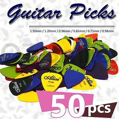 AU7.95 • Buy 50 X ALICE Guitar Picks Bulk Coloured Celluloid Plectrums Standard Mixed Colour