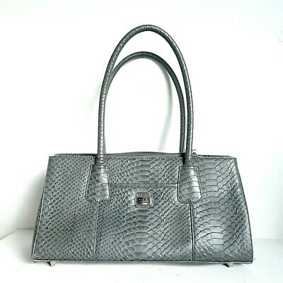 Osprey Handbag Grey Leather Textured Croc Medium Shoulder Women's 36cm Wide • 33£