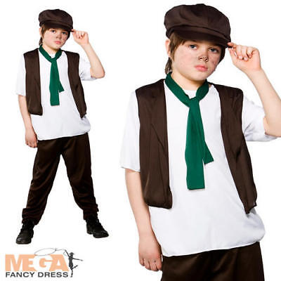 £11.49 • Buy Victorian Poor Boy Fancy Dress Up Oliver Twist Kids Childrens Outfit + Hat 3-10