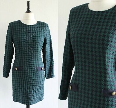 Vintage 1980s Dogtooth Dress Green Navy Power Dressing Structured Mini Dress 10 • 12.99£