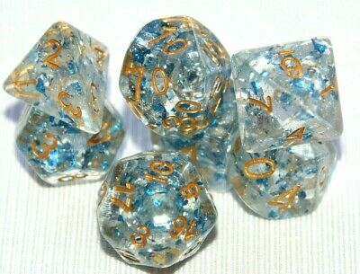 AU10.98 • Buy Dice Set 7 Piece D&D Metallic Sapphire Polyhedral Pathfinder Dungeons & Dragons