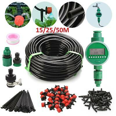 15/25/50M AUTO Drip Irrigation System Kit Plant +Timer Self Watering Garden Hose • 32.99£