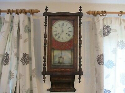 Victorian Antique American Striking 8 Day Wall Clock Parquetry Inlaid Case - Gwo • 110£