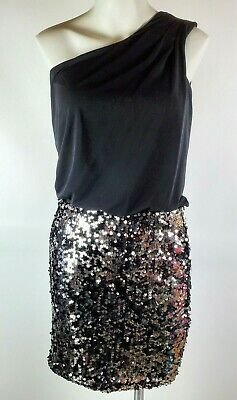 AU23.36 • Buy Way-In Clothing Co. Size S Black One Shoulder Party Dress Silver Sequins
