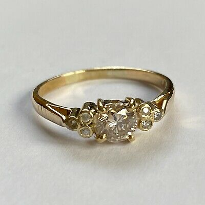Vintage 18ct Gold 0.5ct Fancy Diamond Ring 1/2 Carat Champagne • 375£