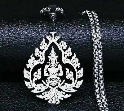 $ CDN14.23 • Buy Thai Bodhisattva Lotus Flower Yoga Amulet Pendant Necklace Stainless Steel