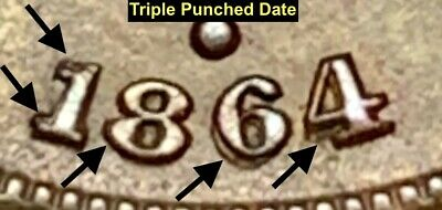 $ CDN266.82 • Buy 1864 2-cent Piece  **uncirculated** Tripled Punched Date (kf-l5-tpd)