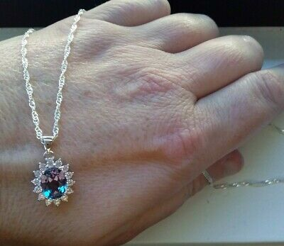 AU26 • Buy JewelryPalace Created Alexandrite & Cz 925 Halo Pendant Silver Plated Wave Chain
