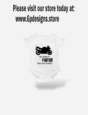 BIKER Baby Grow Vest  Motorbike Dad Gift Motorcycle Daddy Father • 5.90£