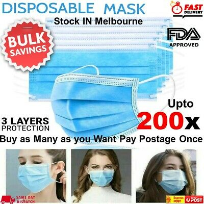 AU24.75 • Buy Disposable Face Mask Surgical Grade 3 Ply Mouth Masks Protection Cover UPTO 200x