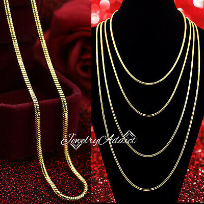 AU8.94 • Buy 24K GOLD GF 3MM SNAKE CHAIN MENS WOMENS GIRLS SOLID NECKLACE For CHARM PENDANT
