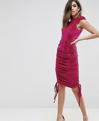 AU70 • Buy ASOS High Neck Velvet Midi Dress With Runched Side Size 14
