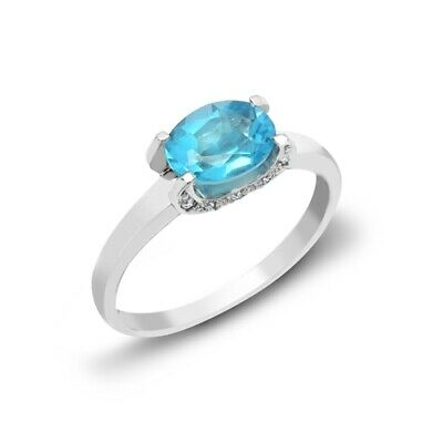 AU1220.85 • Buy Blue Topaz And Diamond Ring 18ct White Gold Solitaire Engagement Certificate