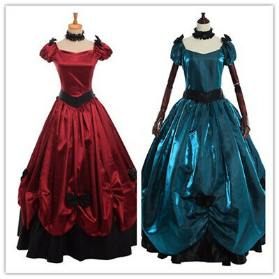 £55.99 • Buy Victorian Women Ball Gown Full Dress Long Bow Gothic With Short Sleeves Vintage