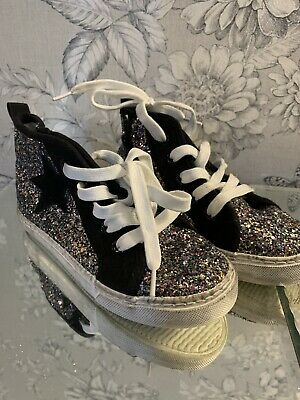 Girls Size 11 Worn Once  Glitter Sparkly Trainers Shoes Hi-tops Silver  Primark • 5£