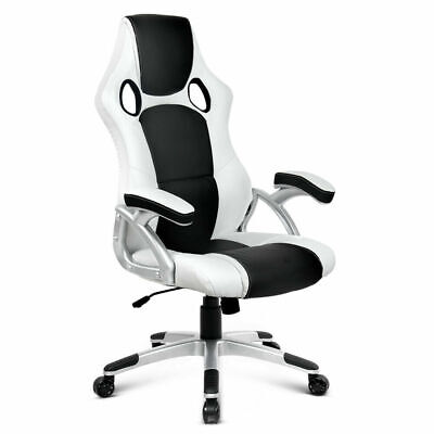 AU200.12 • Buy Artiss Gaming Office Chair Computer Chairs Leather Seat Racer Racing Black White