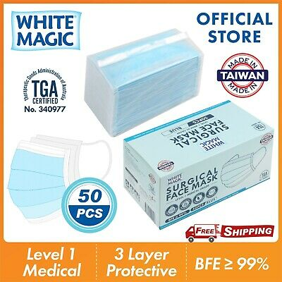 AU59.95 • Buy White Magic 3 Layer Protect Disposable Surgical Face Mask 50pcs - Made In Taiwan