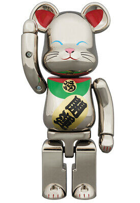 $235 • Buy BEARBRICK Maneki Neko Chogokin 200% Silver Lucky Cat BE@RBRICK  Medicom Toy