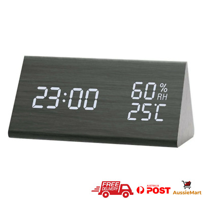 AU33.95 • Buy Alarm Clock LED Wooden Humidity And Temperature Electronic Time Display Bedroom