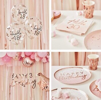 18th 21st 30th 40th 50th Pink & Rose Gold Birthday Party Decorations Tableware • 3.99£