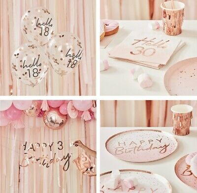 Rose Gold 18th 21st 30th 40th 50th Birthday Party Napkins Tableware Decorations • 3.99£