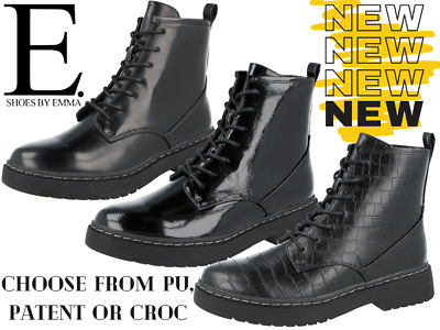 £12.95 • Buy Ladies Faux Leather PU Patent Croc Lace Up Chunky Sole Retro Combat Ankle Boots