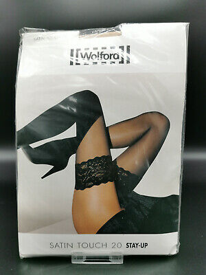 Wolford Large Nylon Elasthan Knee-highs Kniestrümpfe SATIN TOUCH 20 • 12.15£