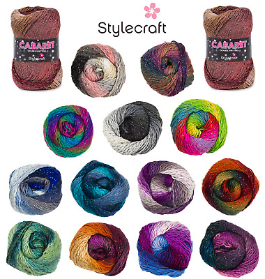 Stylecraft Cabaret DK Sparkle Variegated Multicolour Double Knit Wool Yarn 100g  • 3.99£