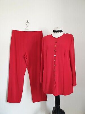 Size XL Red Stretch Tunic Top & Trousers Suit Outfit Set Vintage Vtg • 19.99£