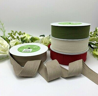 1.5  100% Cotton Herringbone Twill Tape Red Green Taupe Ivory Flat Strap Eco • 5.95£