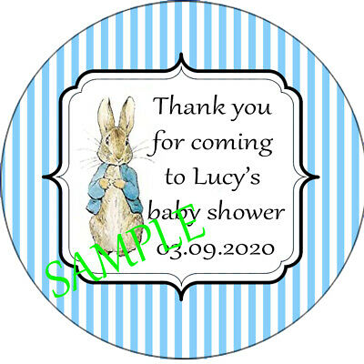 Personalised Peter Rabbit Stickers Baby Shower Birthday Christening Favours B • 1.28£
