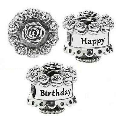 🇬🇧💜💜925 Sterling Silver Happy Birthday Celebrations Cake Charm & Pouch • 9.80£
