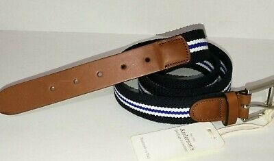 Andersons Navy Blue Striped Leather Belt Silver Buckle Handmade 100 • 34.99£