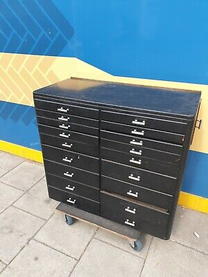 Plan Chest Of Drawers - Collector's Cabinet In Black • 395£