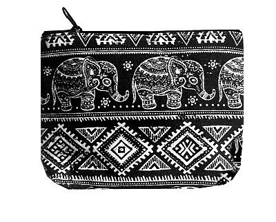 Black & White Cotton Coin Purse With Baby Elephant Design • 3.99£
