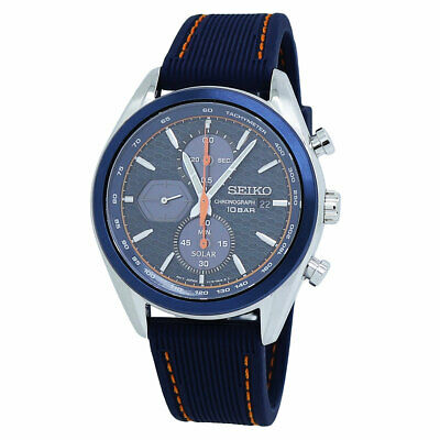 $ CDN350.87 • Buy Seiko Chronograph Solar Black Dial Silicone Band Men's Watch SSC775