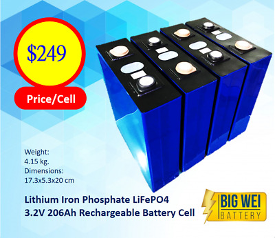 AU229 • Buy Lithium Iron Phosphate LiFePo4 3.2V 200AH Rechargeable Battery Cell