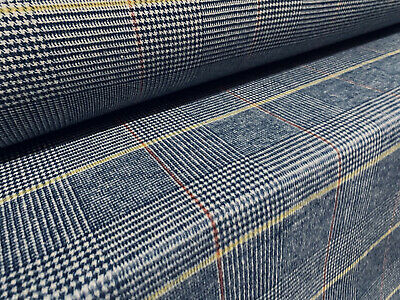 £9.99 • Buy Wool Blend Heavyweight Flannel Fabric, Tweed Style, Per Metre - Blue Lime Check