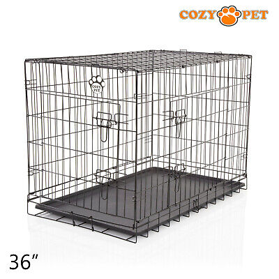 £47.99 • Buy Dog Cage 36 Inch Puppy Crate L Cozy Pet Black Dog Crates Folding Metal Cages