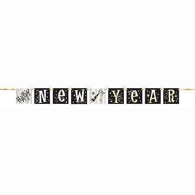 Happy New Year Black & Gold 5ft Block Banner New Years Eve Decorations • 2.15£