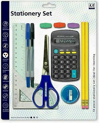 £3.95 • Buy School Stationary 14pc Set Pen Ruler  Pencil Calculator Stationery Back To Class