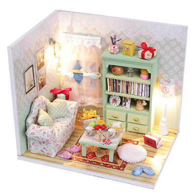 AU29 • Buy Cosy Living Room DIY 1:24 Miniature DollHouse Kit Furniture LED Handcraft Model